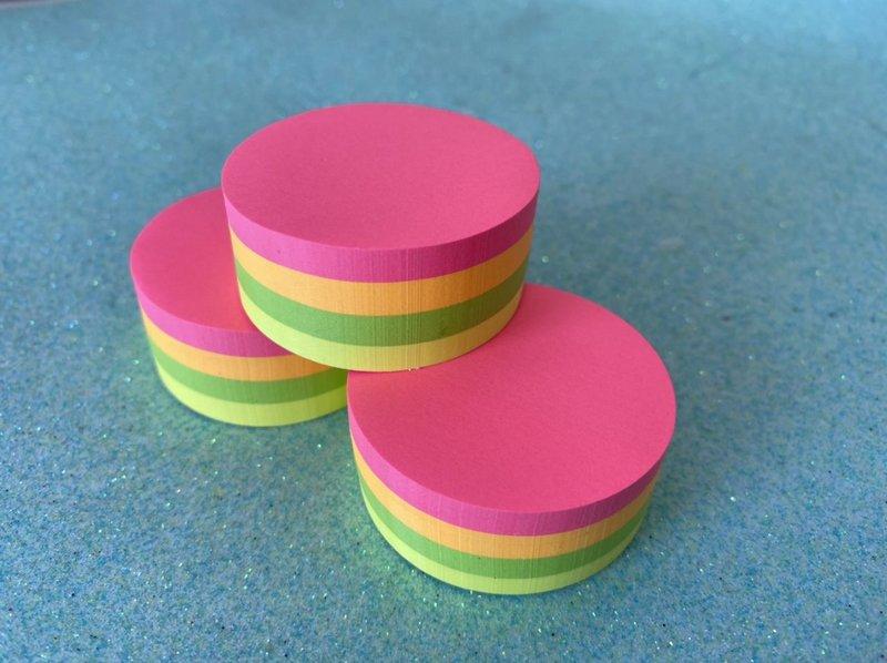 Bloco Adesivo BRW Round MIni Neon Cores Quentes