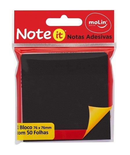 Bloco de Notas Adesivas Note It Preto 76x76mm - 50 folhas - Molin