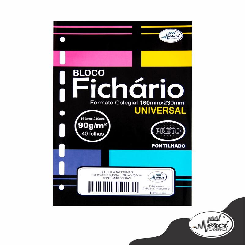 Bloco Fichário Merci Colegial Pontilhado Universal Preto - 40 folhas