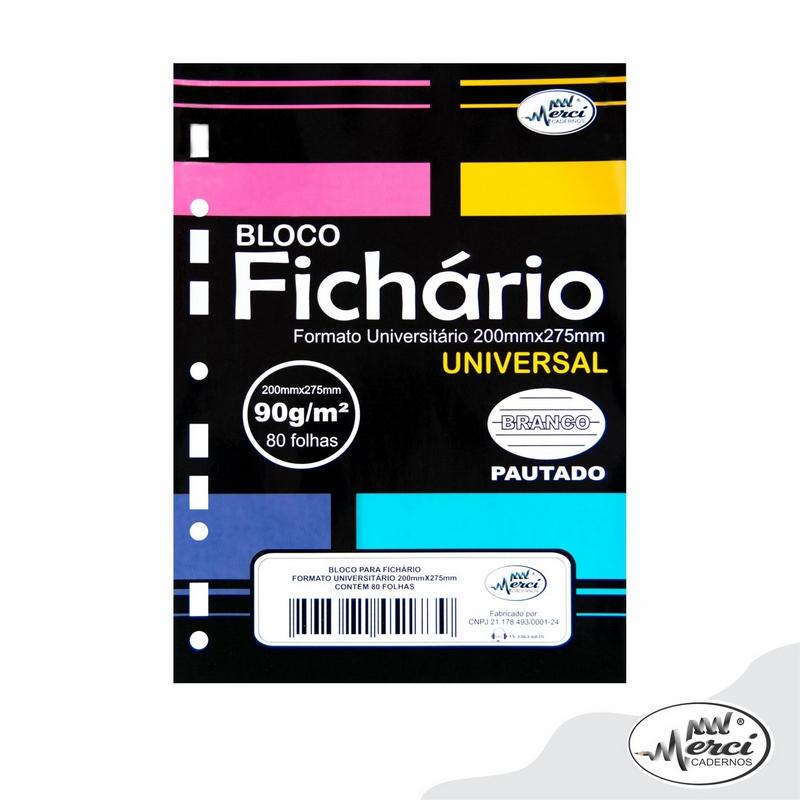 Bloco Fichário Merci Universitário Pautado Universal Branco - 80 folhas