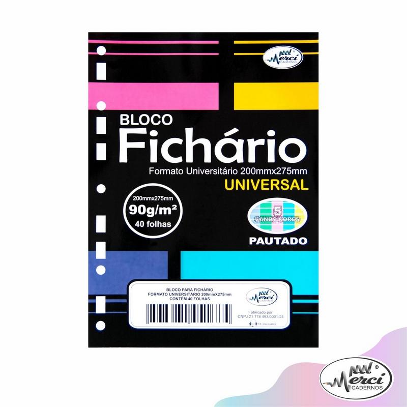 Bloco Fichário Merci Universitário Pautado Universal Cores Candy - 40 folhas