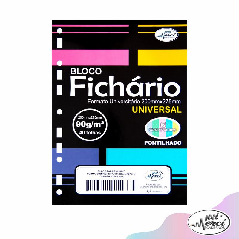 Bloco Fichário Merci Universitário Pontilhado Universal Cores Candy - 40 folhas