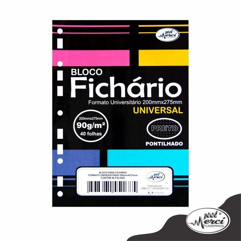 Bloco Fichário Merci Universitário Pontilhado Universal Preto  - 40 folhas