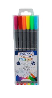 BRW Fineliner - Estojo com 6 cores normais