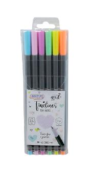 BRW Fineliner - Estojo com 6 cores Pastéis