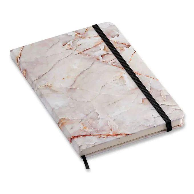 Caderneta Pontada Mármore Branco Minerais 14x21 pontada - Cícero