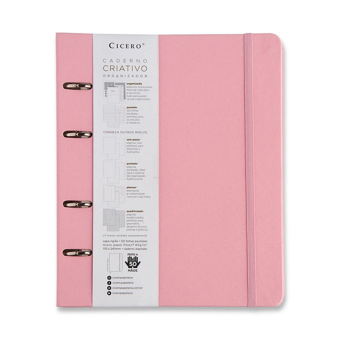 Caderno Criativo Argolado Pautado - Cícero -Rosa Pastel 17x24