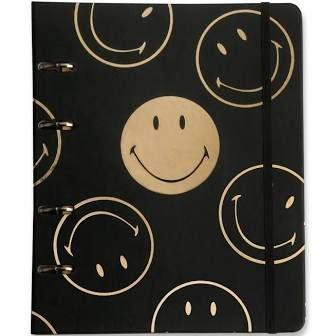 Caderno Criativo Argolado Smiley Preto - 17x24 - Cícero
