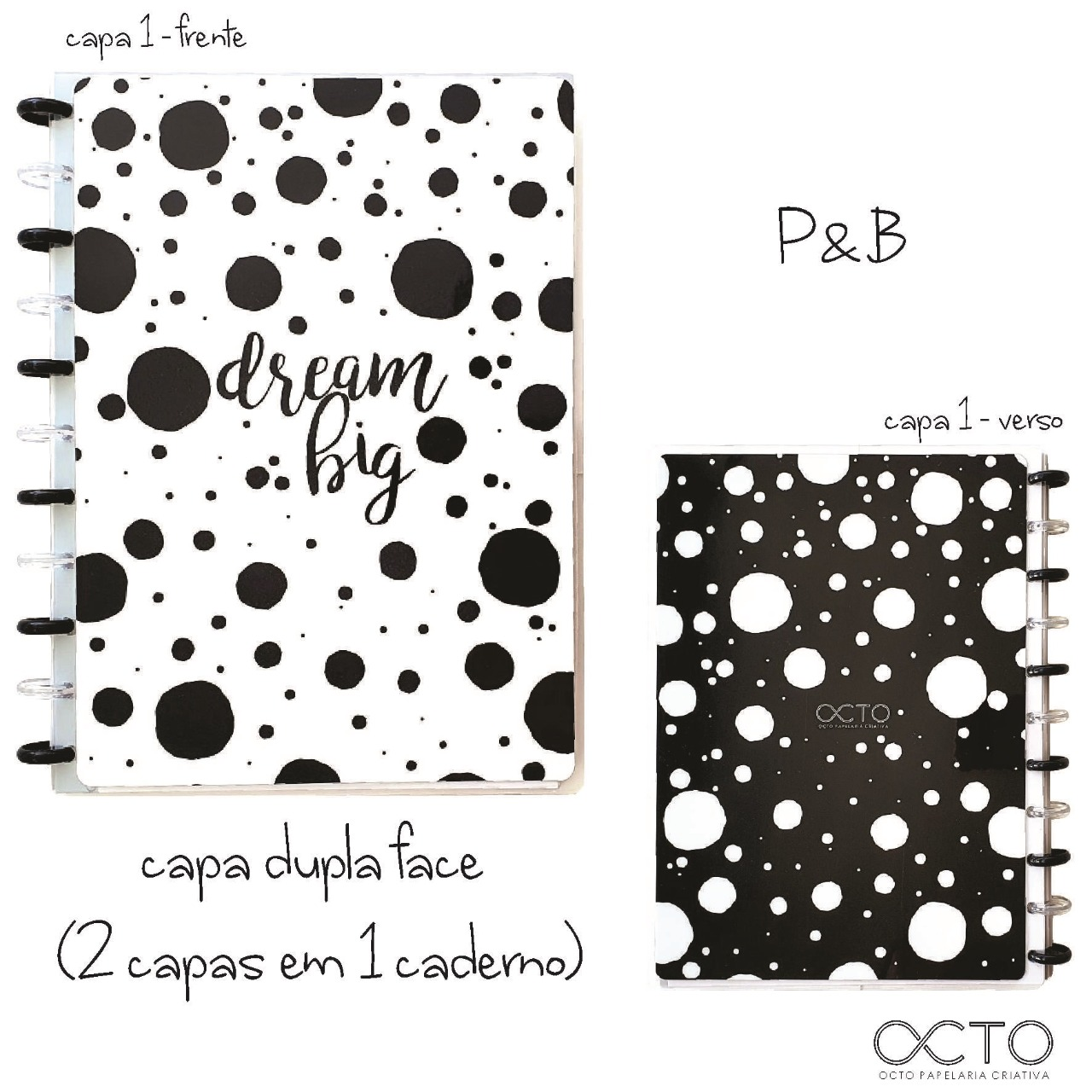 Caderno de Disco Universitário - OCTO - P&B