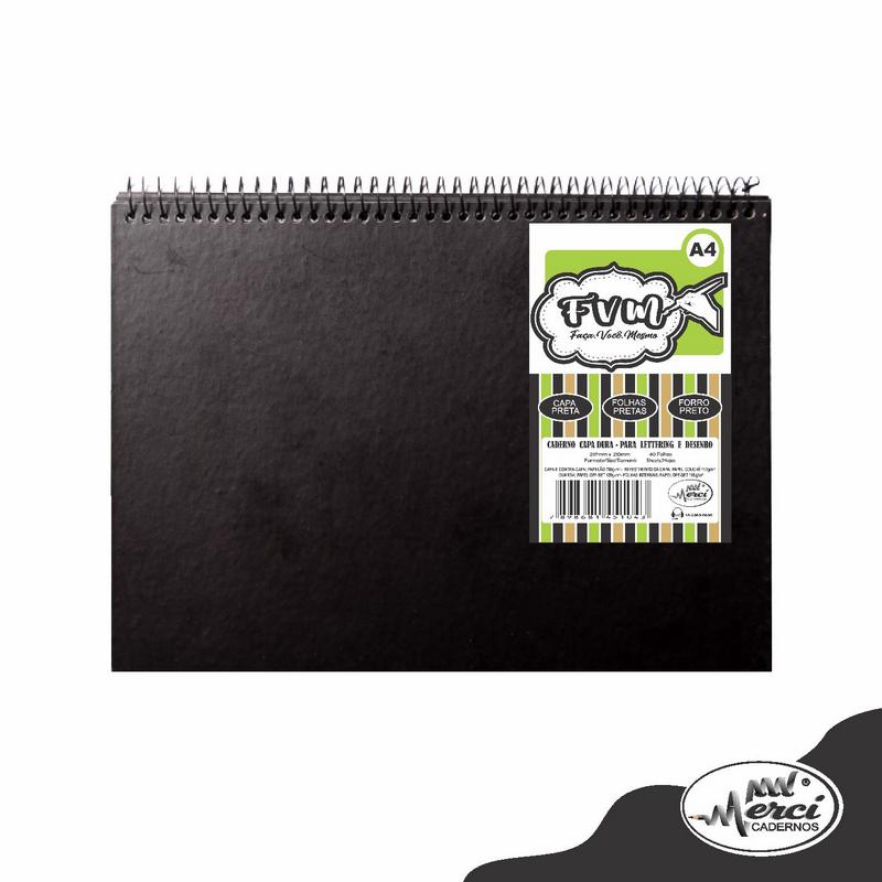 Caderno Faça Você Mesmo A4 - Merci - Preto 40 folhas