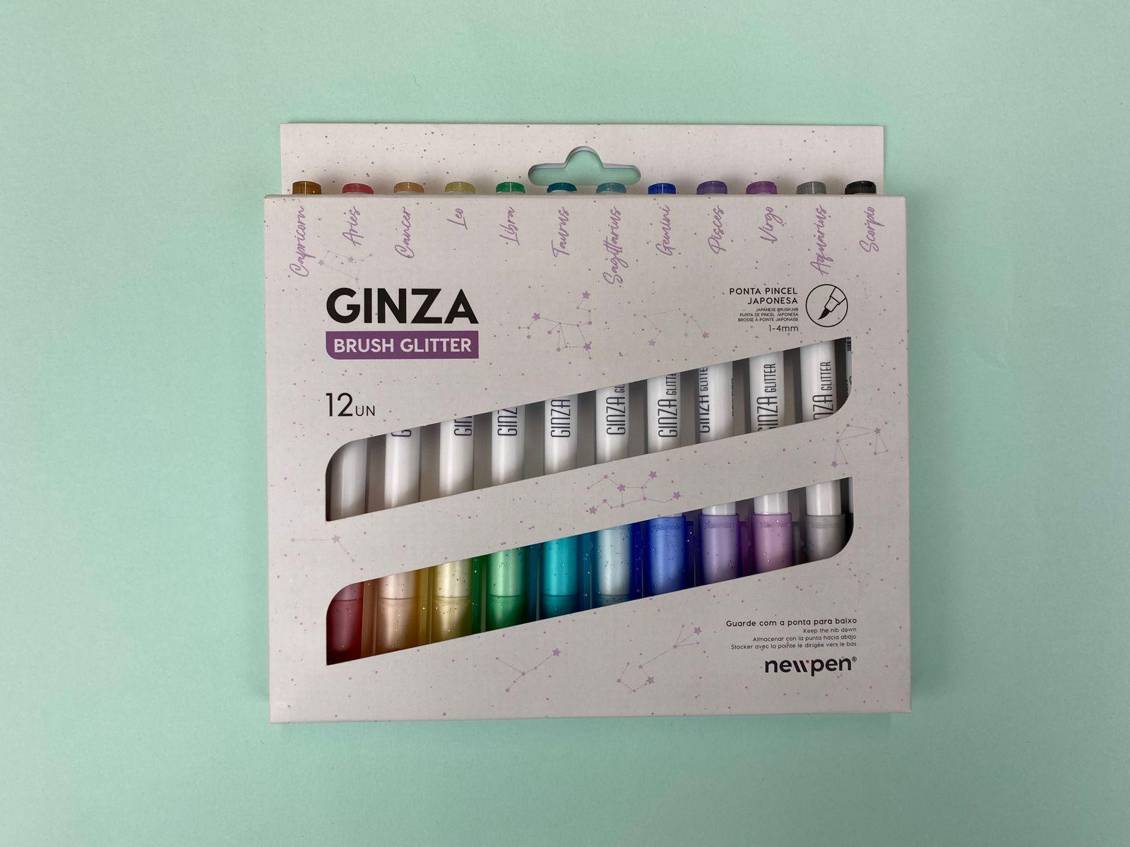 Caneta Brush - Newpen - Ginza Brush Glitter - 12 un