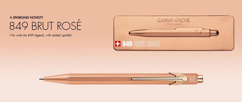 Caneta Esferográfica - Caran d'Ache - 849 Rosé Brut, Gold Bar e Sparkle