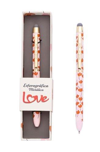 Caneta Esferográfica Metálica Love - Molin - Touch Flowers Rosa