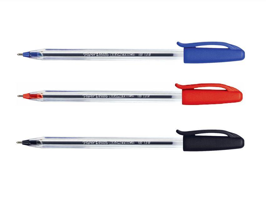 Caneta Esferográfica - Paper Mate - Kit 3 Kilométrica c/ Tampa 1,0mm