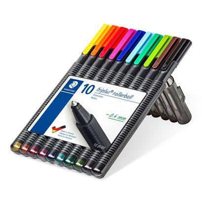 Caneta Esferográfica - Staedtler - Triplus Rollerball Estojo c/ 10 cores