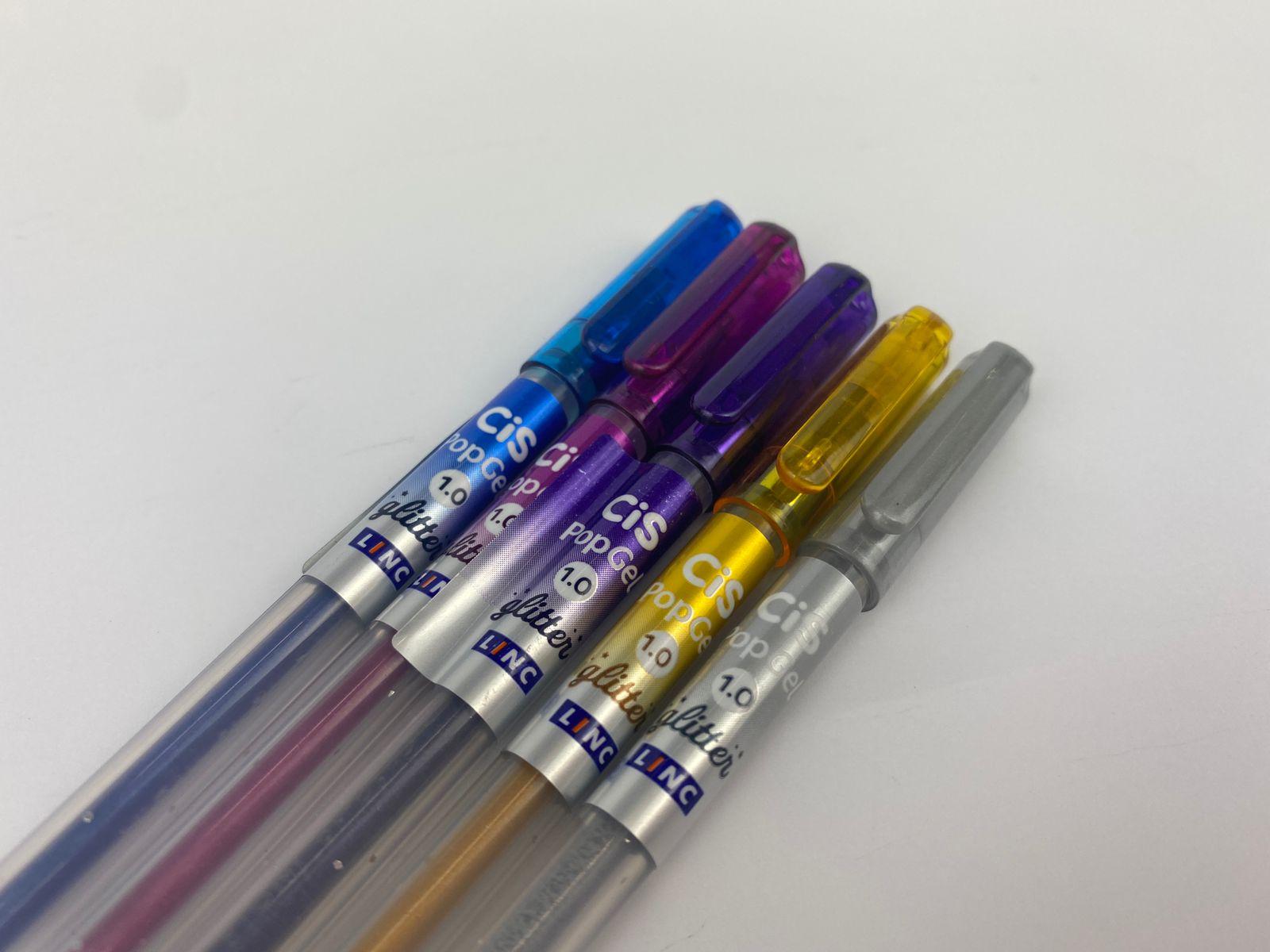 Caneta Gel - Cis - Pop Gel  Estojo c/ 5 Cores Glitter
