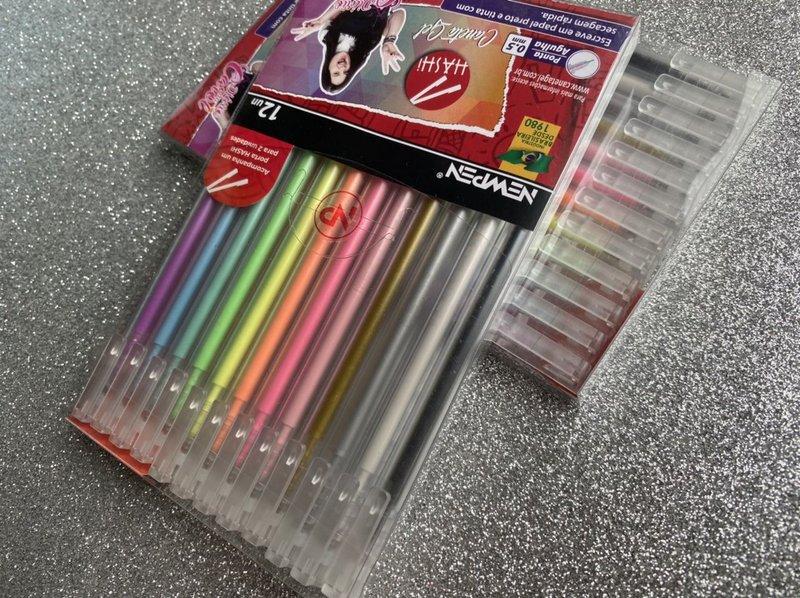 Caneta Gel Newpen Hashi - Estojo com 12 cores
