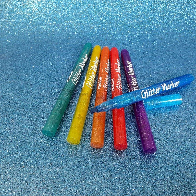 Caneta Hidrocor com Glitter - Estojo com 6 cores - Molin