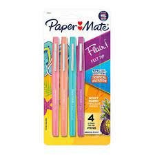 Caneta Hidrocor Paper Mate Flair 4 Cores Tropical Vacation