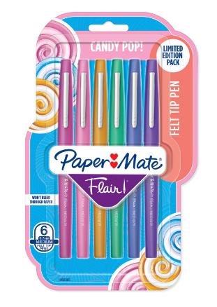Caneta Hidrocor Paper Mate Flair 6 Cores Candy Pop
