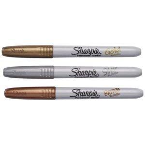 Caneta Permanente Sharpie Fine Point Estojo com 3 Cores Metálicas