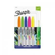 Caneta Permanente Sharpie Fine Point Estojo com 5 Cores Neon