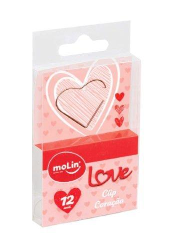 Clips - Molin Love - Coração Rose Gold - 12 unidades