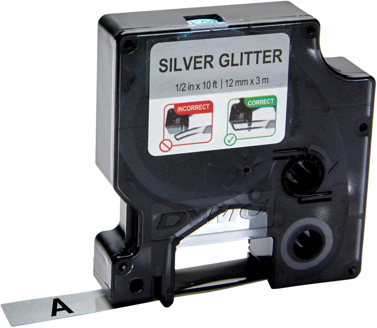 Fita Gliterizada para Rotulador LM/Color Pop - DYMO - 12mm x 3m Preto e Prata
