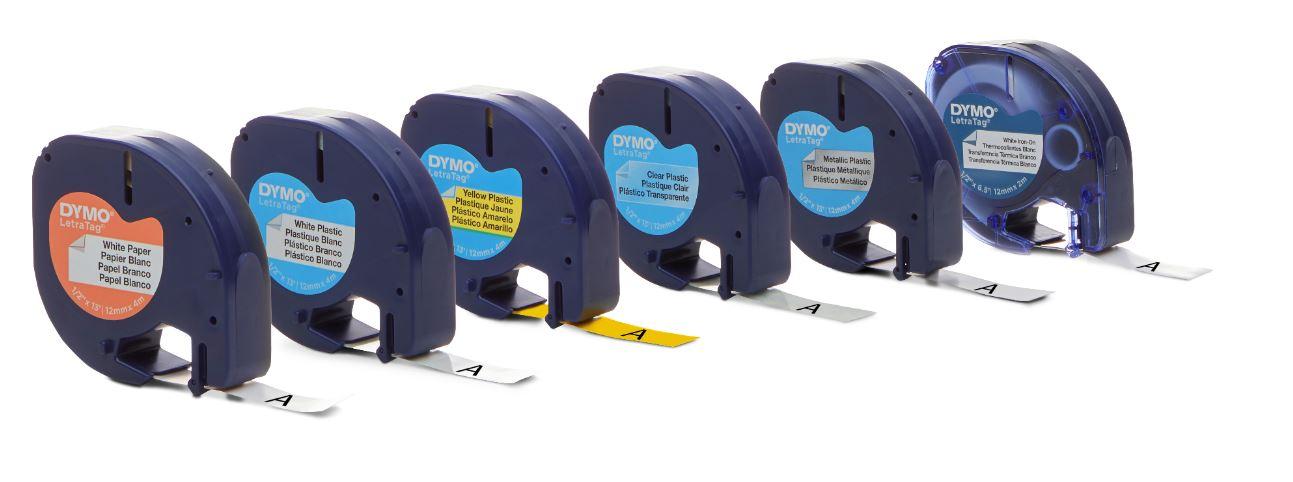 Fita Plástica para Rotulador LetraTag - Dymo - 12mm x 4m Amarela