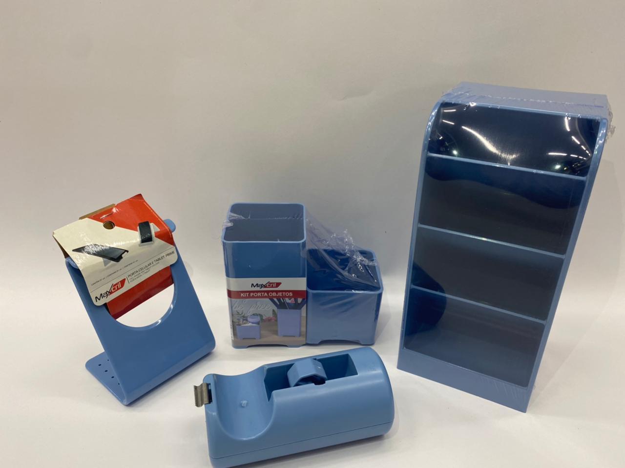 Kit de Organizadores Azul - Waleu - 3 ITENS + BRINDE