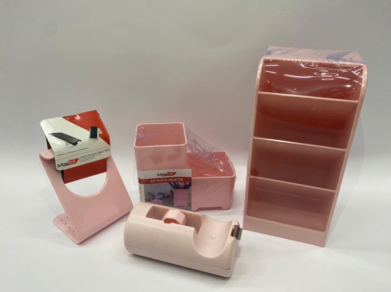 Kit de Organizadores Rosa - Waleu - 3 ITENS + BRINDE