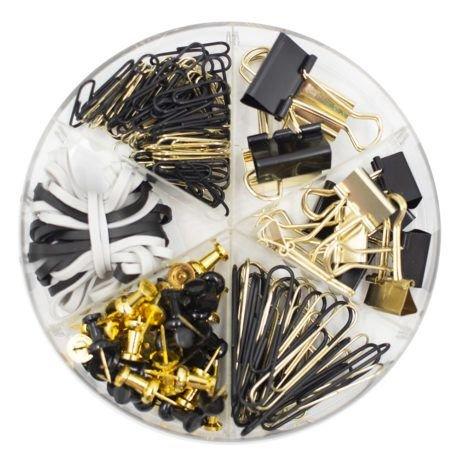 Kit de Papelaria Bee Unique Preto e Dourado - Coleção Time Lapse