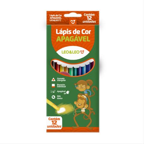 Lápis de Cor Apagável - Leo&Leo - 12 cores