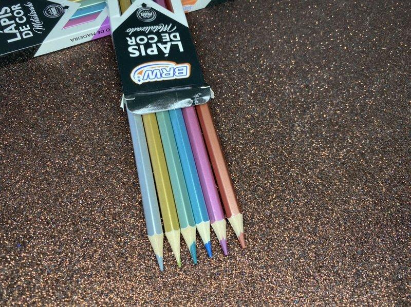 Lápis de cor BRW Metalizado - Estojo com 6 cores