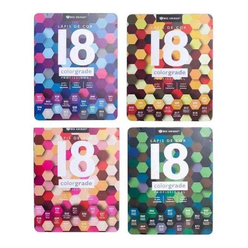 Lápis de cor profissional - Colorgrade - 18 cores - Bee Unique