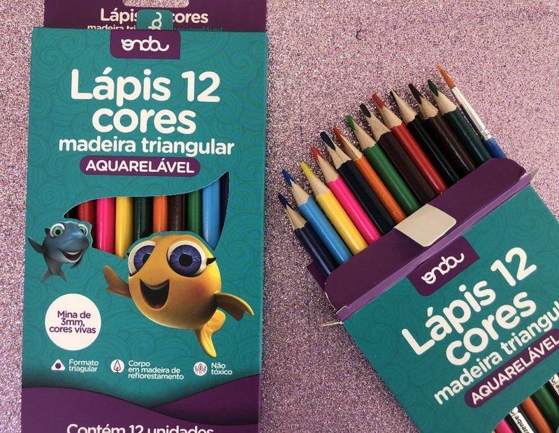 Lápis de Cor Triangular Aquarelável Onda - 12 cores + pincel
