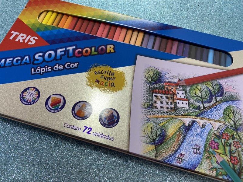 Lápis de Cor Tris Mega Softcolor - estojo de metal com 72 cores