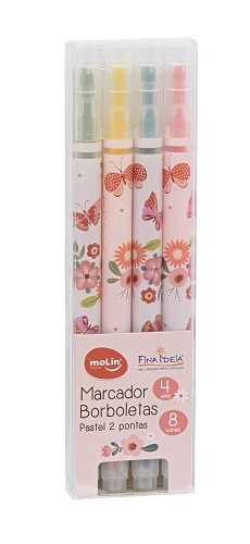 Marca Texto - Molin - Borboletas - 8 Cores Pastel 2 Pontas