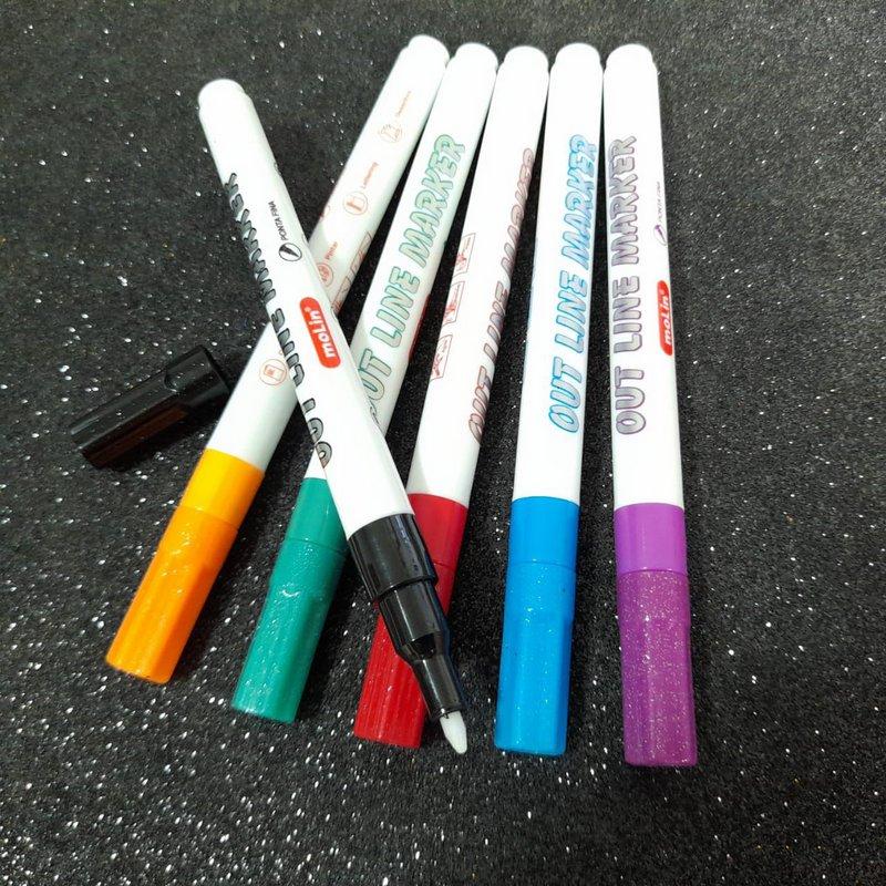 Marcador Permanente - Molin - Metálica Outline Estojo c/ 6 cores