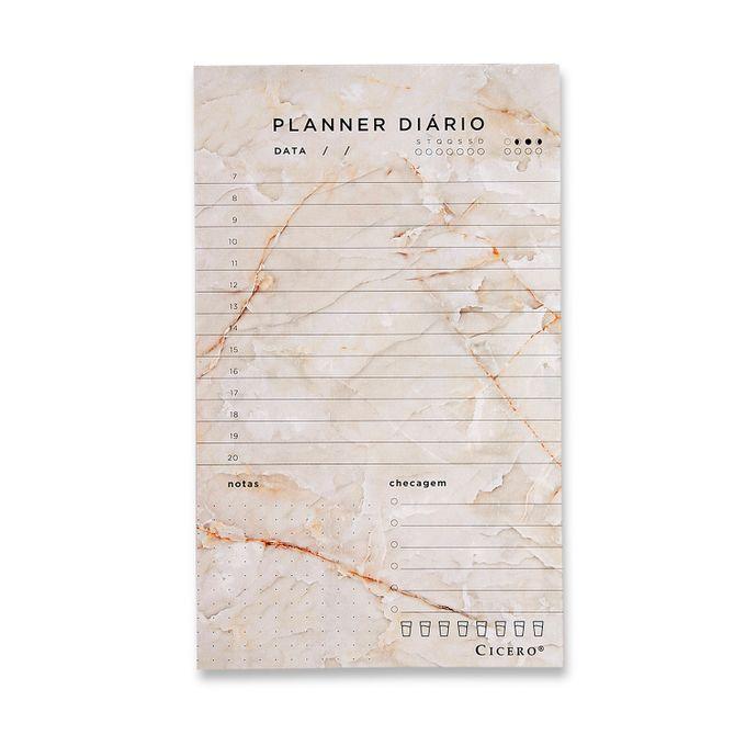 Planner Bloco Diário - Cícero - Mármore Branco