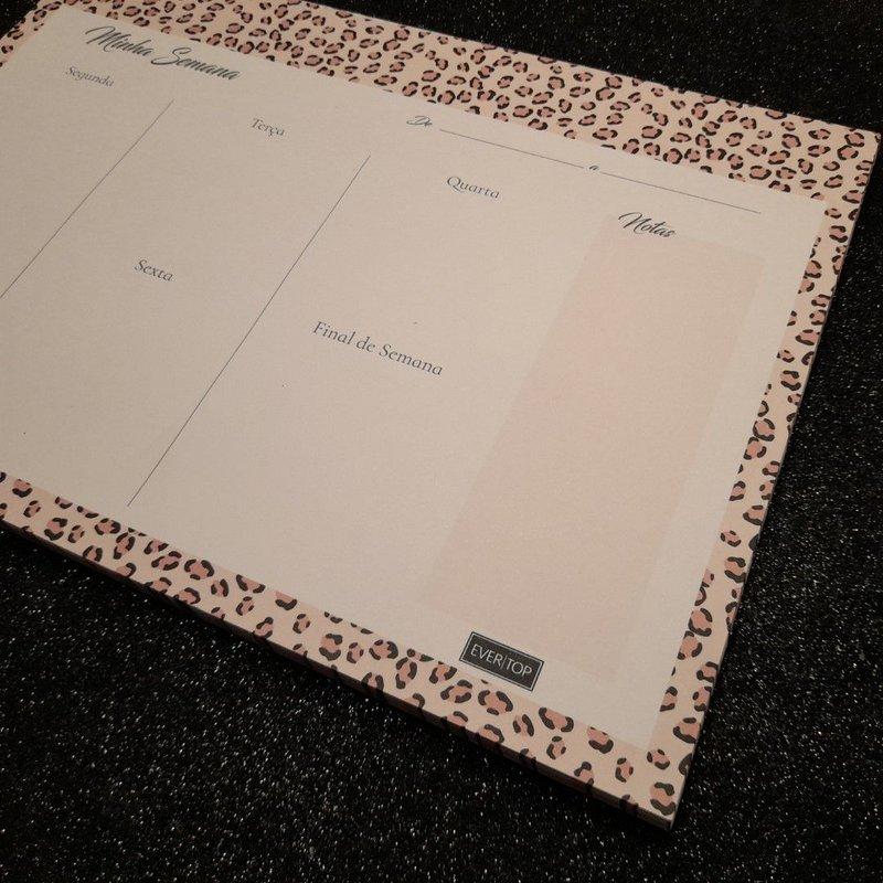 Planner de mesa Evertop estampa animal print onça rose - bloco destacável