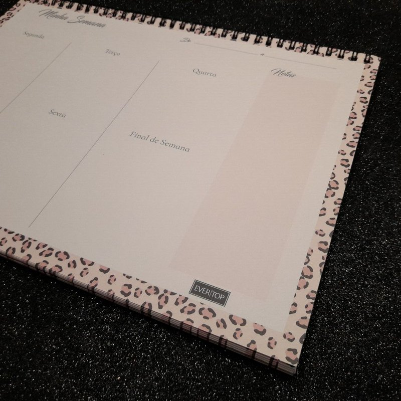Planner de Mesa - Evertop - Estampa animal print onça rose - Bloco Espiral