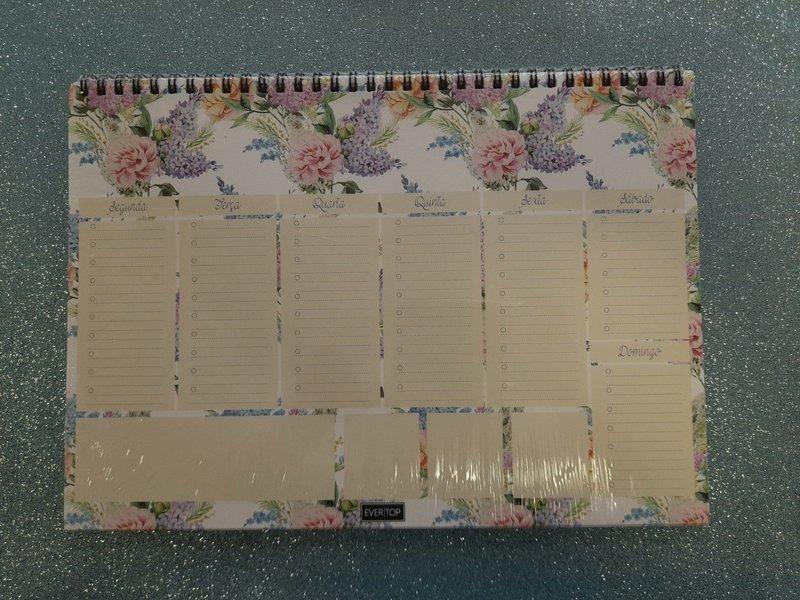 Planner de mesa Evertop estampa floral vintage com espiral