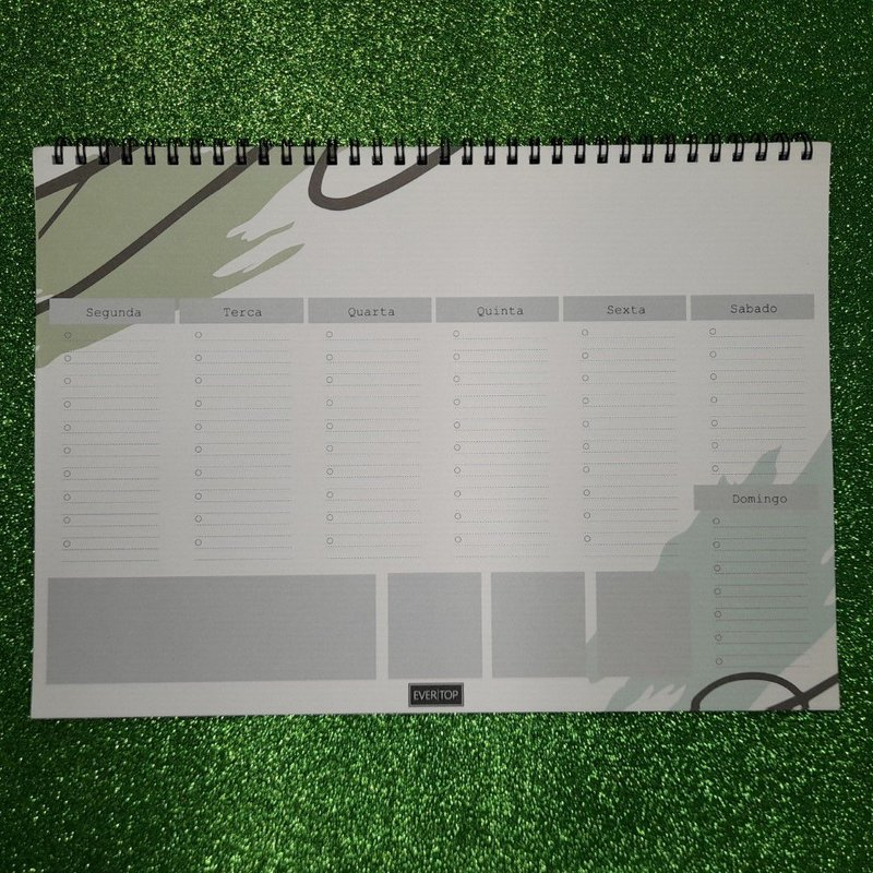 Planner de mesa Evertop estampa orgânica cor verde com espiral