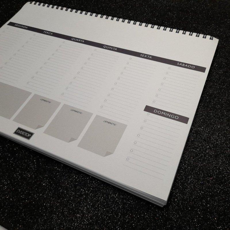 Planner de mesa Evertop preto + cinza com espiral