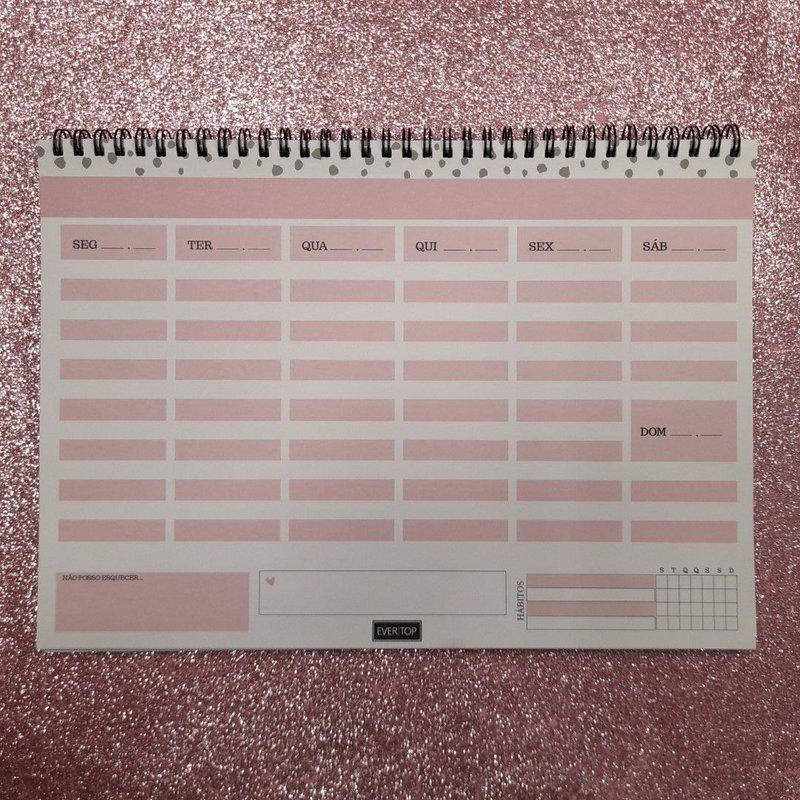 Planner de mesa Evertop rosa com estampa bolinha com espiral