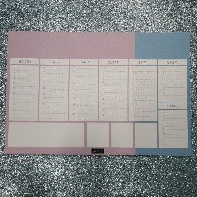 Planner de mesa Evertop roxo + azul - bloco destacável
