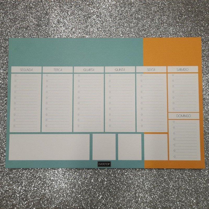 Planner de Mesa - Evertop - verde água + laranja - Bloco Destacável