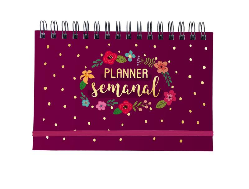 Planner Semanal Argolado Floral Vinho Cartões Gigantes
