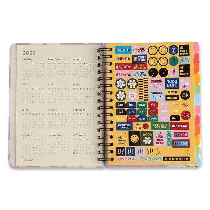 Planner Wire-o Smiley Margarida Rosa 14,8 x21 - mensal e semanal - Cícero